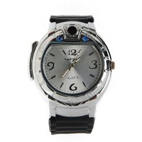 Military Lighter Watch Novelty Man Quartz Sports Refillable Butane Gas Watches with LED Light