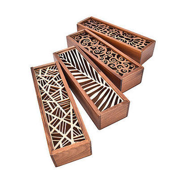 Hollow Wooden Pencil Case Holder Wood Cosmetic Makeup Stationery Box StorageHU