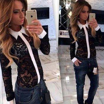 Black Contrast Trim  Sheer Lace Lapel Spliced Top