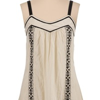 contrast embroidered lightweight tank