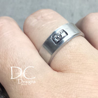 Camera Ring - Hand Stamped Ring - Photography Jewelry - Photographer Gift - Handstamped Jewelry - Silver Camera Ring - Stamped Ring