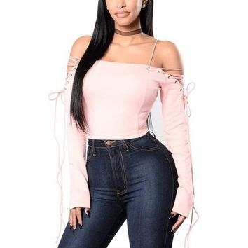 ESB1ON Women Sexy Off Shoulder Blouses Tops 2017 Spring Autumn Slash Neck Lace Up Long Sleeve Backless Solid Blusas Shirts Plus Size