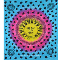 Blue and Yellow Psychedelic Sun Moon Tapestry Tie Dye Hippie Wall Hanging Bedspread on RoyalFurnish.com