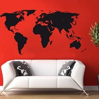 Wall Decal Vinyl Sticker Continent Earth Globe Dorm Bedroom Living Room B227