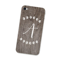 Monogram - Calligraphy iPhone 4 Skin or iPhone 4S Skin Cell Phone Decal Personalized with Initials of Your Choice on Woodgrain with Leaves