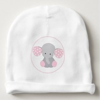 Beautiful Baby Girl Pink Elephant Baby Beanie