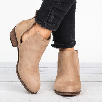 Slit Ankle Flat Booties - Taupe
