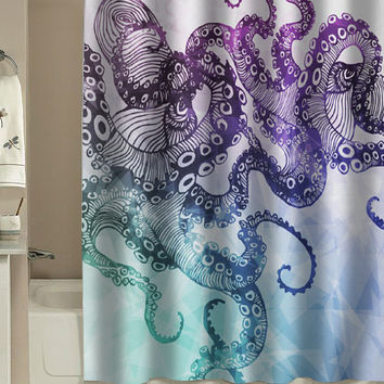 Octopus shower curtain Watercolor Octopus Shower Curtain