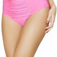 Sexy Hot Pink Ruche Gathered Front Slimming High Waist Pin Up Bikini Bottoms