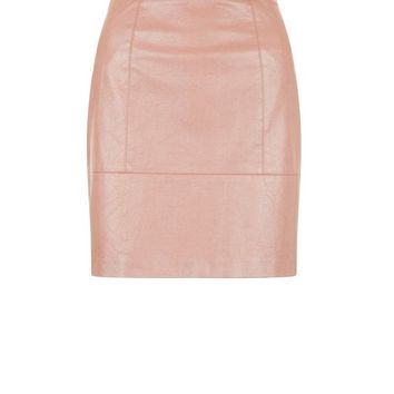 Rose Gold Leather Look Mini Skirt
