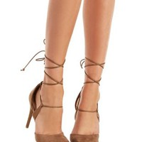 Taupe Faux Suede Lace Up Pumps by Charlotte Russe