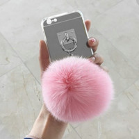 Silver Luxury Metal Rope Mirror Tassel phone Capa fake rabbit fur ball For iPhone 7 7Plus 6 6S 6plus 5 5S SE Back Cover Case