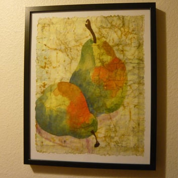 Kitchen art pear giclee print fruit art edible art from an original watercolor batik painting on Japanese rice paper choose size