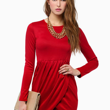 Long Sleeve High Waisted Draped Mini Dress