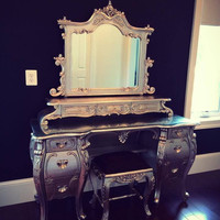 Fabulous and Baroque — Fabulous & Rococo Dressing Table - Silver Leaf - Custom Made - Client