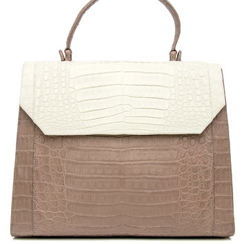Cream and Taupe Croc Lily Top Handle Bag