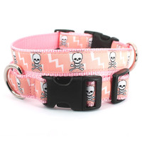 Pink skull dog collar , xxs - xl pink and white skull and crossbones dog collar: skulls and bolts pink