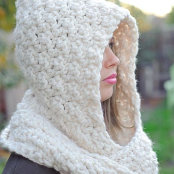Hooded scarf, off white, chunky scarf, spring scarf, winter scarf, bridal scarf, bridal hood, fall, winter