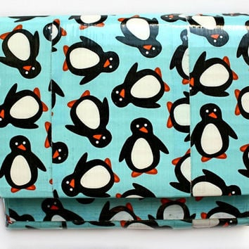 Duct Tape Wallet, Mini Accordion Bifold ~ Penguin. Small Wallet/Pocket Wallet/Accordion Wallet/Duct Tape Craft/Kids Wallet/Coin Purse