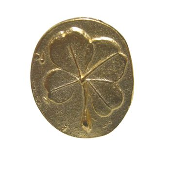 Gold Toned Oval Lucky Four Leaf Clover Adjustable Size Fashion Ring