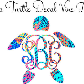 Lilly Pulitzer Monogram Turtle Decal Vine Font