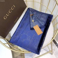 GUCCI classic wild and exquisite soft touch shawl women's scarf blue