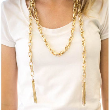 Paparazzi ''Scarfed For Attention'' Gold Blockbuster Earring And Necklace Set