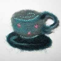 Handmade felt tea cup brooch pin