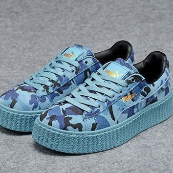 Mens Womens Puma Fenty by Rihanna Creepers Blue Camo Suede Shoes