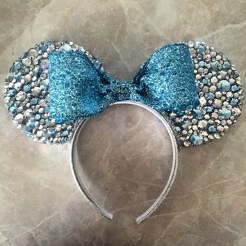 Bedazzled Queen Elsa Minnie Mouse Ears