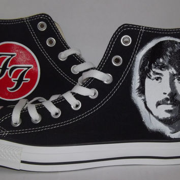 Hand Painted Custom Dave Grohl Foo Fighters Converse All Star Hi Black