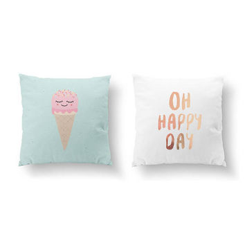 SET of 2 Pillows, Oh Happy Day, Ice Cream Pillow, Happy Quote, Throw Pillow, Cushion Cover, Bed Pillow, Nursery Decor, Gold Pillow, Kids Art