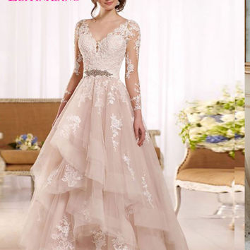 2017 New Arrival Bridal Gown Elegant Gorgeous Wedding Dresses Full A-Line Backless Appliques Robe de Mariage Vestidos de Novias