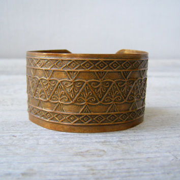 Boho Engraved Cooper Adjustable Cuff Bracelet,  Ethnic Mediterranean metal art Bracelet, Moroccan Tribe Patina Jewelry, Hippie Gypsy spirit
