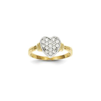 10k Yellow Gold & Rhodium CZ Heart Ring