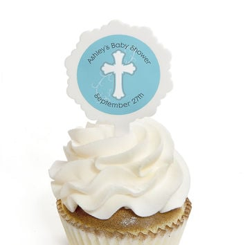 Little Miracle Boy Blue & Gray Cross - Personalized Baby Shower Cupcake Picks and Sticker Kit - 12 ct
