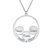 Circle and Couples Family Name Pendant (30mm)