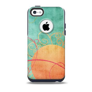 The Vintage Green Grunge Texture with Orange Skin for the iPhone 5c OtterBox Commuter Case
