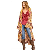 Ruffled Long Body Kimono with a Multicolored Print by Umgee
