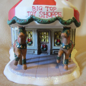 Santa's Workbench Big Top Toy Shop Victorian Series Lighted Porcelain Shop, Christmas Village, Holiday Display, Decorate, Festive, Fun, Cute