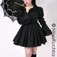 Black Gothic Lolita Dress with Peter Pan Collar by MGDclothing