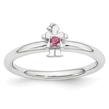 Rhodium Plated Sterling Silver Stackable Tourmaline 7mm Girl Ring