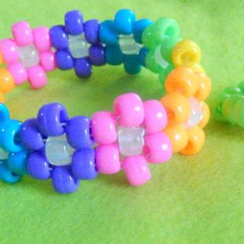 Flower Kandi Cuff Bracelet & Ring Set PICK YOUR COLORS rave edm plur kandi kid edc