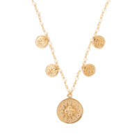 Tess and Tricia Simplicity White Pearl Cascade Coin Necklace
