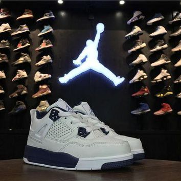 DCCKIJ2 Kid's Air Jordan 4 Retro Leather Basketball Shoes White Blue