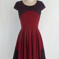 Mid-length Cap Sleeves Fit & Flare Intermission Impossible Dress in Burgundy by ModCloth