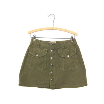 Vintage Army Green Mini Skirt Button Front 90s Jean Skirt Women's Boho Olive Denim Cotton Grunge BONGO Vintage Skirt Small Medium