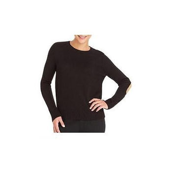 Faded Glory Women's Crew Neck Sweater W/Elbow Patch, Black, Medium