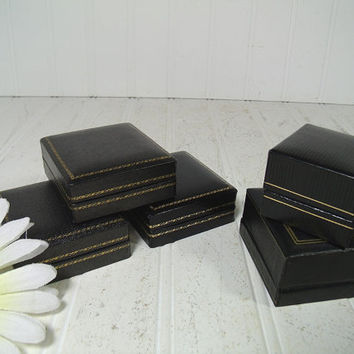 Black Leatherette with Gold Tooling Set of 5 Jewelry Cases with Velvet Interiors - Vintage Jeweler Presentation Boxes Group of 5 for Display