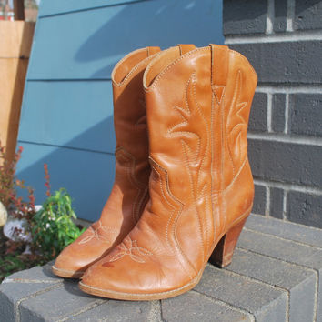 Vintage Brown Leather Cowgirl Ankle Boots